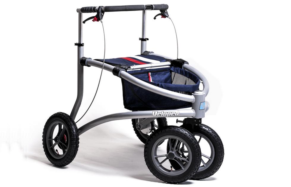 Veloped - spezieller Rollator mit Luftbereifung. Schont Hand- und Armgelenke.